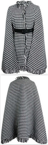 Houndstooth Fringed Poncho Coat | DESIGNER INSPIRED FASHIONS
