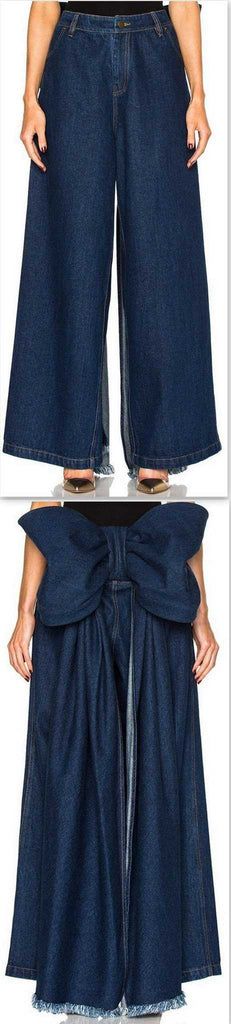 Large Bow Wide-Leg Denim Pants - DESIGNER INSPIRED FASHIONS