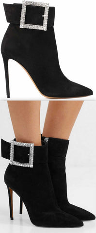 Yasmin Crystal-Embellished Suede Ankle Boots | DESIGNER INSPIRED FASHIONS