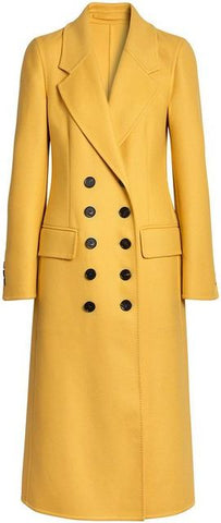 Double-Breasted Wool Coat-Banana Yellow
