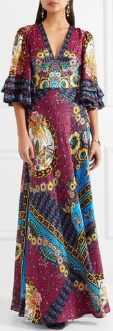 Bell-Sleeve Printed V-Neck Maxi Dress | DESIGNER INSPIRED FASHIONS