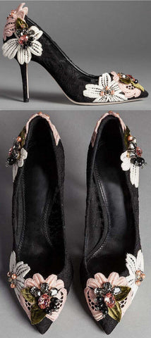 'Bellucci' Embroidered Lace Court Shoes in Black - DESIGNER INSPIRED FASHIONS