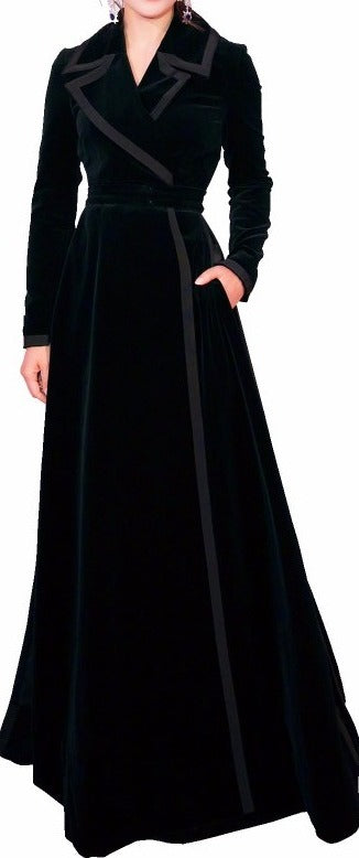 Long Black Velvet Wrap-Effect Coat