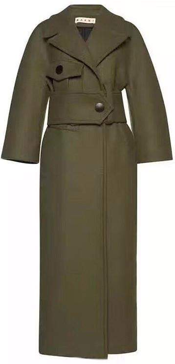 Cashmere Wool Felted Military Green Coat | DESIGNER INSPIRED FASHIONS