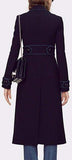 Long Double-Breasted Cotton Cashmere Coat in Deep Blue - DESIGNER INSPIRED FASHIONS