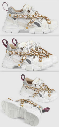 'Flashtrek' Sneakers with Removable Crystals, White