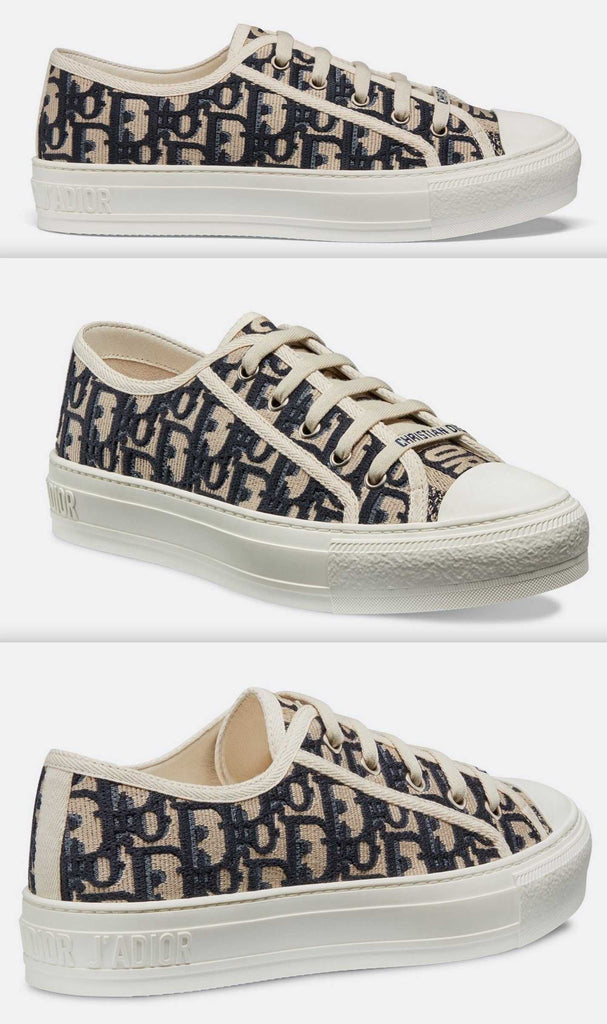 Logo Sneaker in Oblique Embroidered Canvas, Blue | DESIGNER INSPIRED FASHIONS