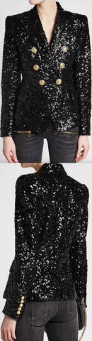 Black Sequin Double-Breasted Jacket | DESIGNER INSPIRED FASHIONS