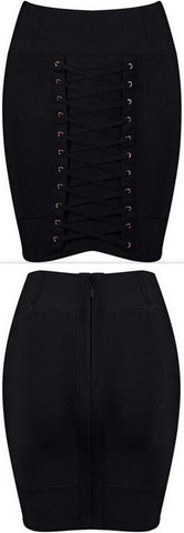 Lace-up Stretch Mini Skirt, Black - DESIGNER INSPIRED FASHIONS