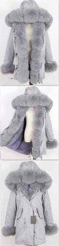 Army Parka Military Parka Coat with Fox Fur-Grey - DESIGNER INSPIRED FASHIONS