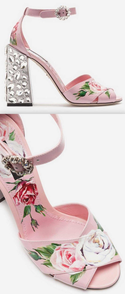 Printed Leather Sandals with Embroidered Heel