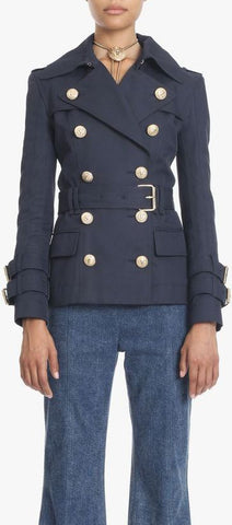 Short Double-Breasted Trench Jacket