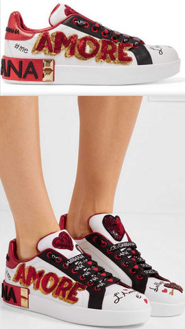 Amore Portofino Embellished Leather Sneakers | DESIGNER INSPIRED FASHIONS