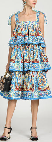 Tile Print Tiered Sun Dress