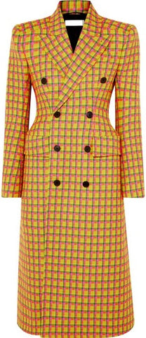 Checked Double-Breasted Wool Coat