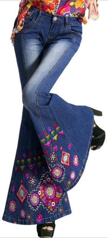 Embellished Faded Bell-Bottom Jeans | DESIGNER INSPIRED FASHIONS