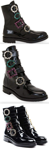 Black Patent Flat Booties with Crystal Buckles | DESIGNER INSPIRED FASHIONS