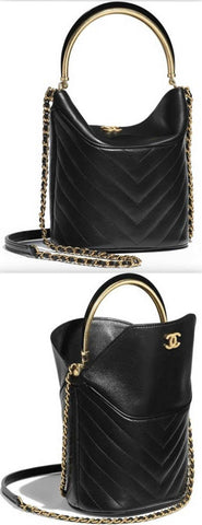 Leather and Chain Strap Bucket Bag