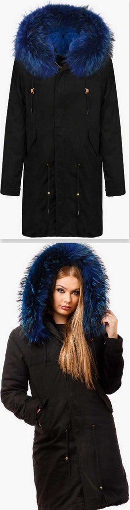 Black Fur Parka Coat-Blue Fur - DESIGNER INSPIRED FASHIONS