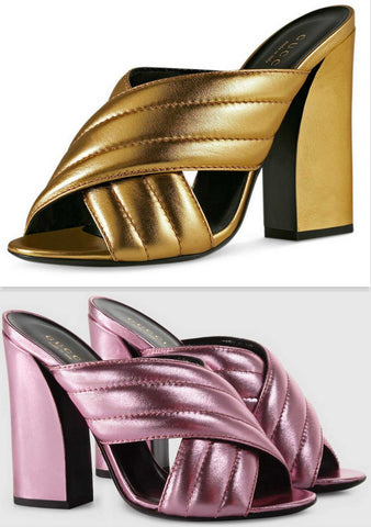 'Webby' Metallic Crossover Leather Sandals - ( Gold, Pink, Silver ) - DESIGNER INSPIRED FASHIONS