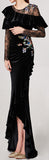 Black Lace and Velvet Embellished Ruffle Gown
