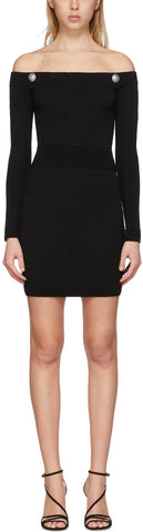 Knit Dress with Silver-Tone Buttons, Black