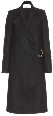 Chain Embellished Coat in Black - DESIGNER INSPIRED FASHIONS