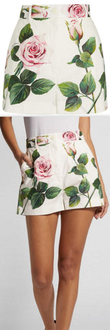 Tropical Rose Print Shorts