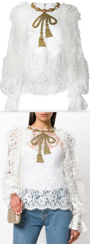 Embellished Bow Lace Blouse *Limited Stock*