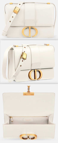 30 Montaigne Flap Bag, Off-White | DESIGNER INSPIRED FASHIONS
