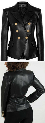 Black Faux-Leather Double-Breasted Blazer