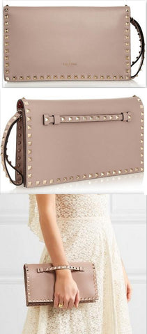 Rockstud Leather Flap Clutch, Nude/Pale Pink | DESIGNER INSPIRED FASHIONS