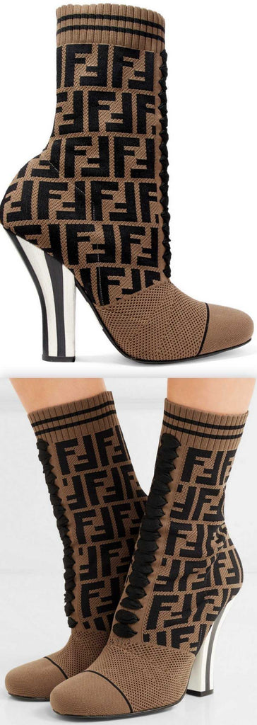 Logo-Jacquard Stretch-Knit and Mesh Sock Boots, Black and Brown