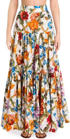 Floral Bamboo Printed Maxi Skirt *Extended Sizes*
