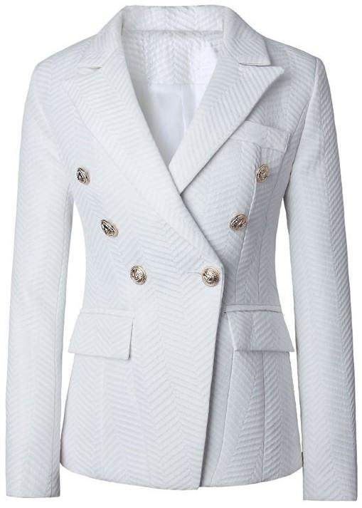 Double-Breasted Jacquard Blazer in White - DESIGNER INSPIRED FASHIONS