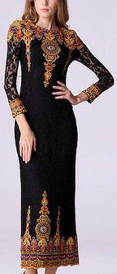 Embroidered Long Sleeve Lace Dress - Black or Turquoise