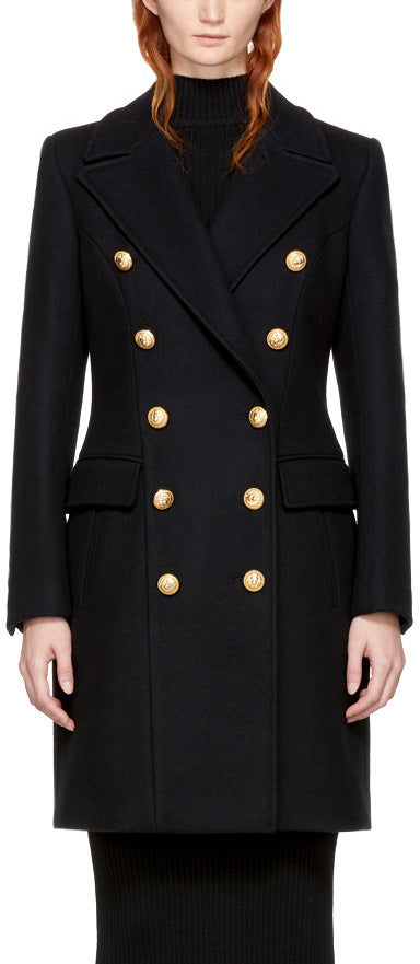 Black Double-Breasted Gold Metal Button Coat