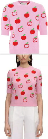 GG Apple Jacquard Wool Top