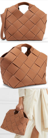 Woven Textured-Leather Tote
