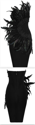 Feather-Embellished Strapless Embroidered Mini Dress | DESIGNER INSPIRED FASHIONS