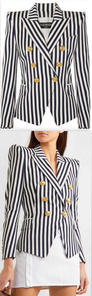 Double-Breasted Striped Blazer | DESIGNER INSPIRED FASHIONS