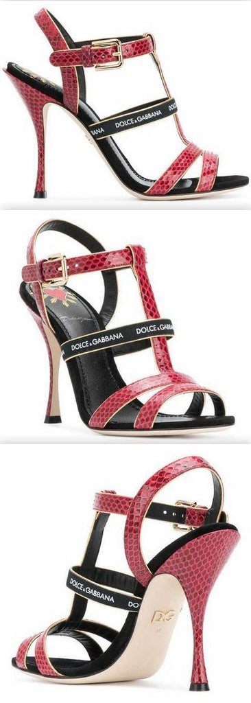 Keira T-bar Heeled Sandals, Red and Black