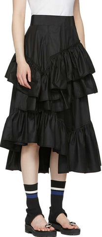 Black Ruffle Asymmetric Skirt | DESIGNER INSPIRED FASHIONS