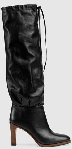 Leather Mid-Heel Boots