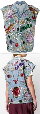 Sequin-Embellished Denim Vest | DESIGNER INSPIRED FASHIONS