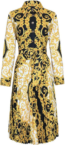 Baroque Print Pleated Shirt-Dress