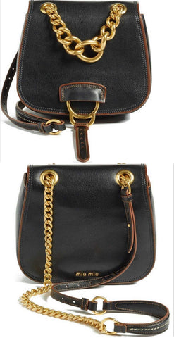 'Dahlia' Small Leather Saddle Crossbody Chain Bag, Black - DESIGNER INSPIRED FASHIONS