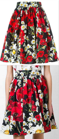 Daisy and Poppy Print Skirt