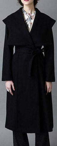 Capelet Wool Wrap Coat in Black | DESIGNER INSPIRED FASHIONS