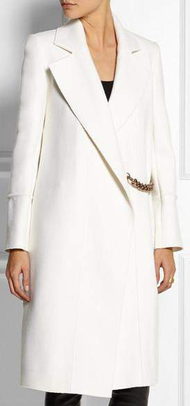 Chain Embellished Coat in White - DESIGNER INSPIRED FASHIONS